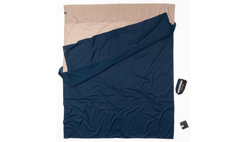 Cocoon TravelSheet - Sacos de dormir - Doublesize Egyptian Cotton beige/azul